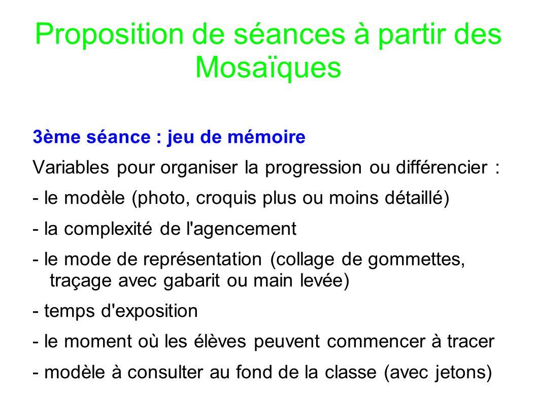 Proposition de séances à partir des Mosaïques 3ème séance : jeu de mémoire Variables pour organiser la progression ou différencier : - le modèle (phot