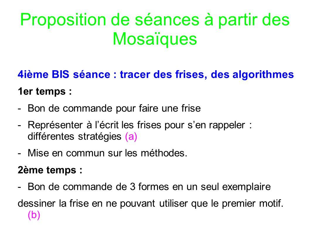 Proposition de séances à partir des Mosaïques 4ième BIS séance : tracer des frises, des algorithmes 1er temps : -Bon de commande pour faire une frise -Représenter à lécrit les frises pour sen rappeler : différentes stratégies (a) -Mise en commun sur les méthodes.