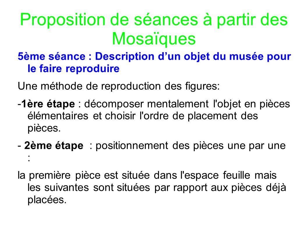 Proposition de séances à partir des Mosaïques 5ème séance : Description dun objet du musée pour le faire reproduire Une méthode de reproduction des fi