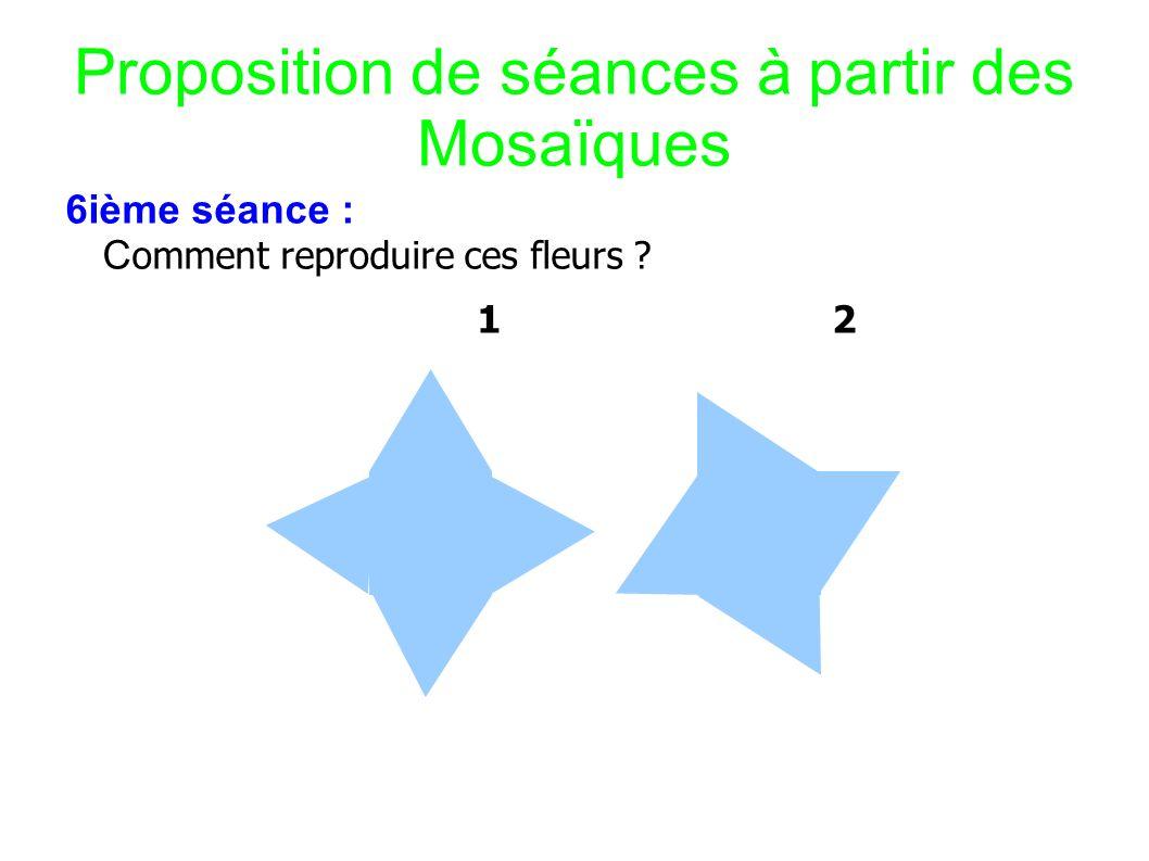 Proposition de séances à partir des Mosaïques 6ième séance : C omment reproduire ces fleurs ? 1 2