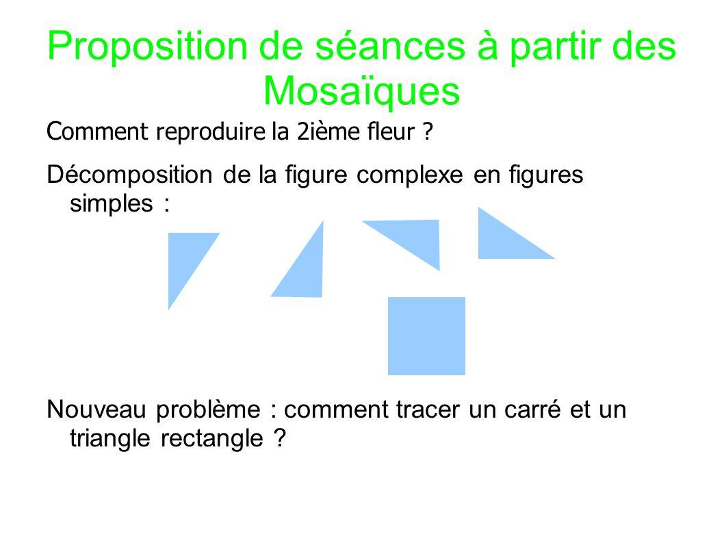 Proposition de séances à partir des Mosaïques C omment reproduire la 2ième fleur .