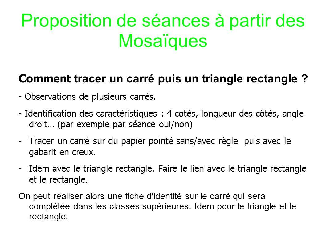 Proposition de séances à partir des Mosaïques C omment tracer un carré puis un triangle rectangle .