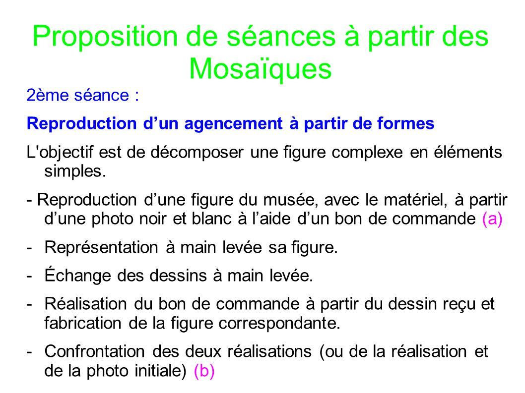Proposition de séances à partir des Mosaïques 2ème séance : Reproduction dun agencement à partir de formes L objectif est de décomposer une figure complexe en éléments simples.