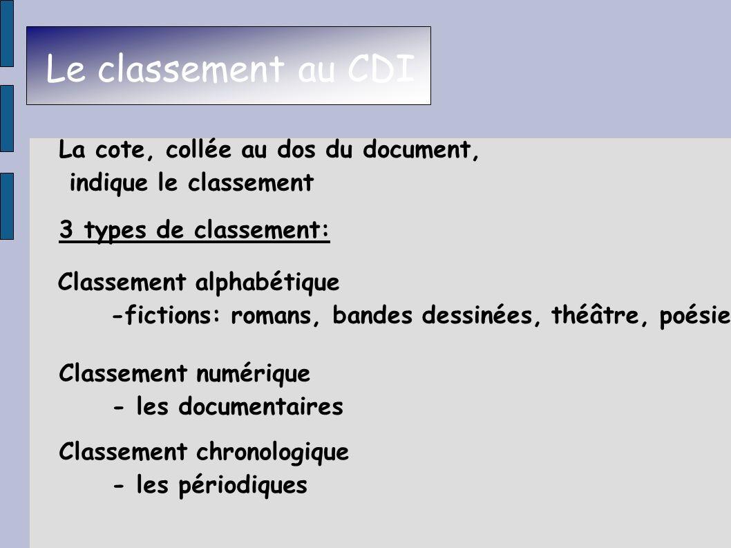 Le classement au CDI Classement alphabétique -fictions: romans, bandes dessinées, théâtre, poésie La cote, collée au dos du document, indique le class
