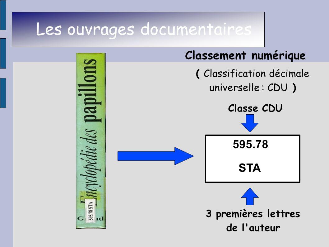 Les ouvrages documentaires Classement numérique Classe CDU 3 premières lettres de l'auteur ( Classification décimale universelle : CDU ) 595.78 STA