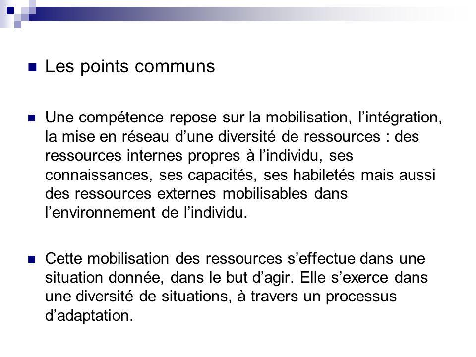 Les points communs Une compétence repose sur la mobilisation, lintégration, la mise en réseau dune diversité de ressources : des ressources internes p