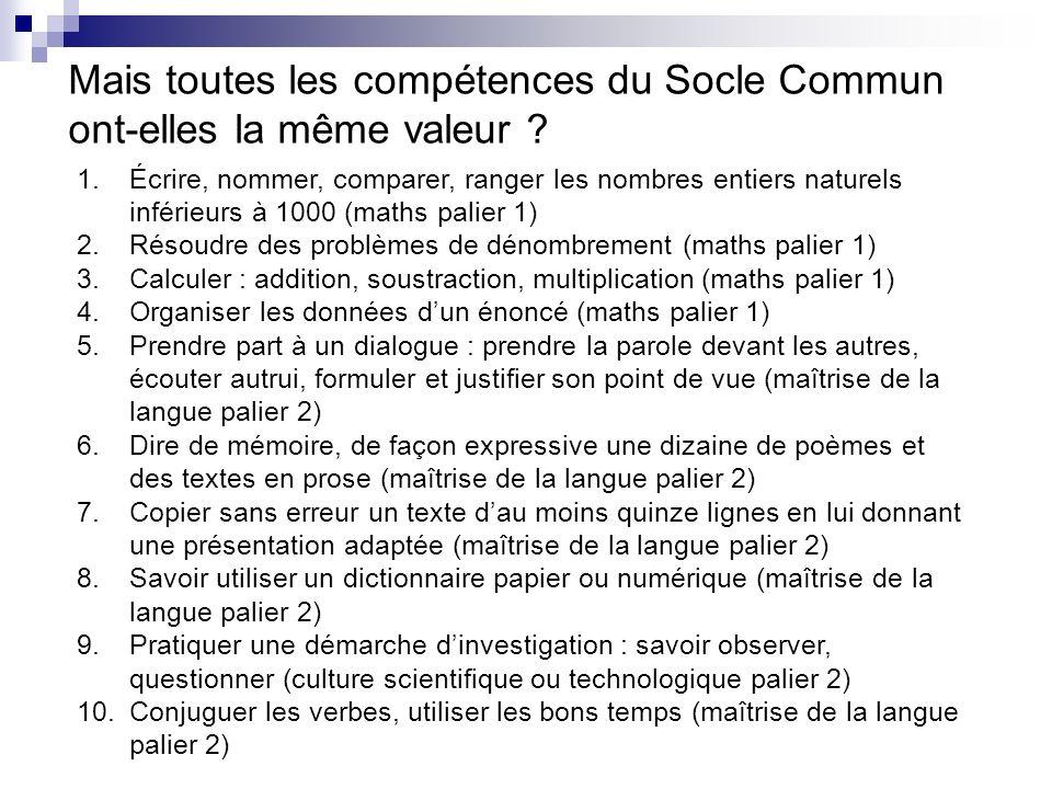 Mais toutes les compétences du Socle Commun ont-elles la même valeur ? 1.Écrire, nommer, comparer, ranger les nombres entiers naturels inférieurs à 10