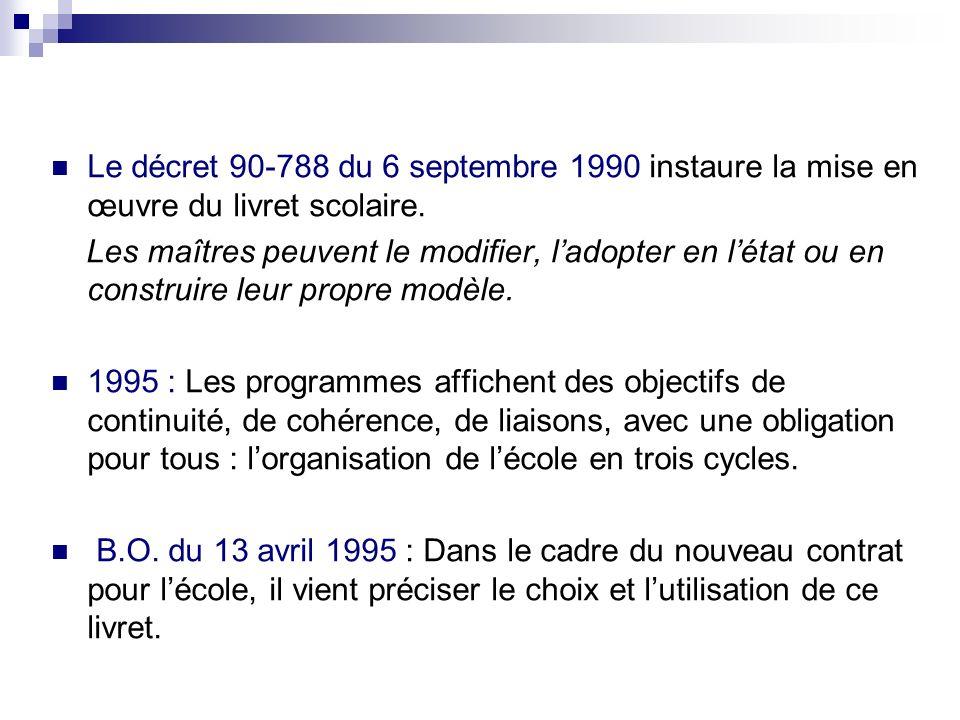 Le décret 90-788 du 6 septembre 1990 instaure la mise en œuvre du livret scolaire. Les maîtres peuvent le modifier, ladopter en létat ou en construire