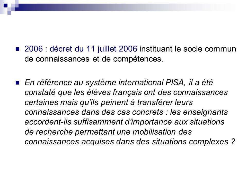 2006 : décret du 11 juillet 2006 instituant le socle commun de connaissances et de compétences. En référence au système international PISA, il a été c
