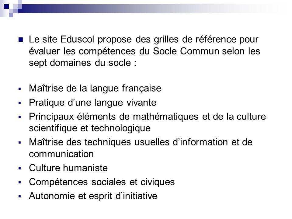 Le site Eduscol propose des grilles de référence pour évaluer les compétences du Socle Commun selon les sept domaines du socle : Maîtrise de la langue