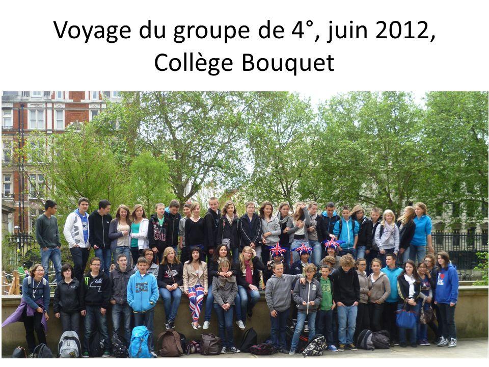 Voyage du groupe de 4°, juin 2012, Collège Bouquet