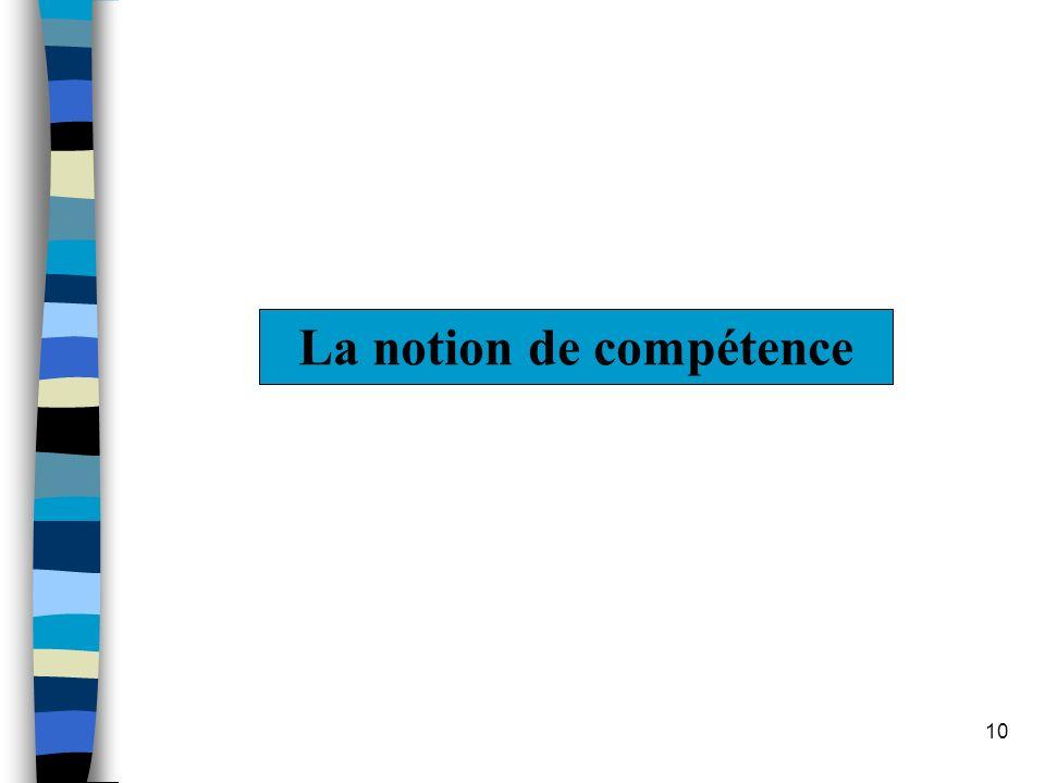 10 La notion de compétence