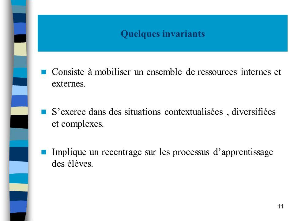 11 Quelques invariants Consiste à mobiliser un ensemble de ressources internes et externes. Sexerce dans des situations contextualisées, diversifiées