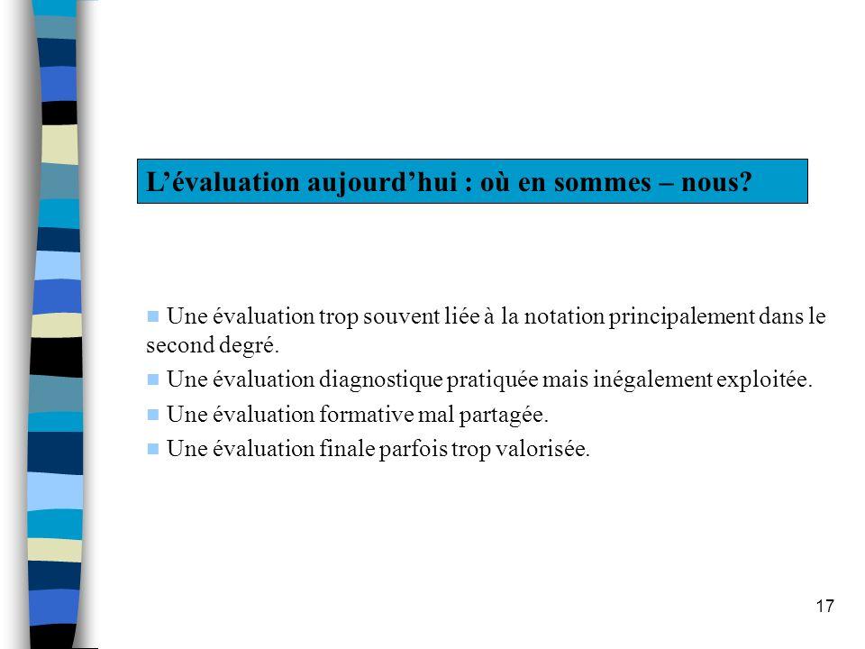 17 Lévaluation aujourdhui : où en sommes – nous? Une évaluation trop souvent liée à la notation principalement dans le second degré. Une évaluation di