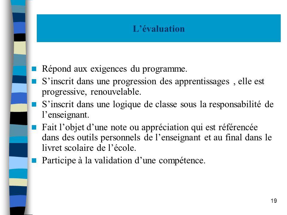 19 Lévaluation Répond aux exigences du programme. Sinscrit dans une progression des apprentissages, elle est progressive, renouvelable. Sinscrit dans