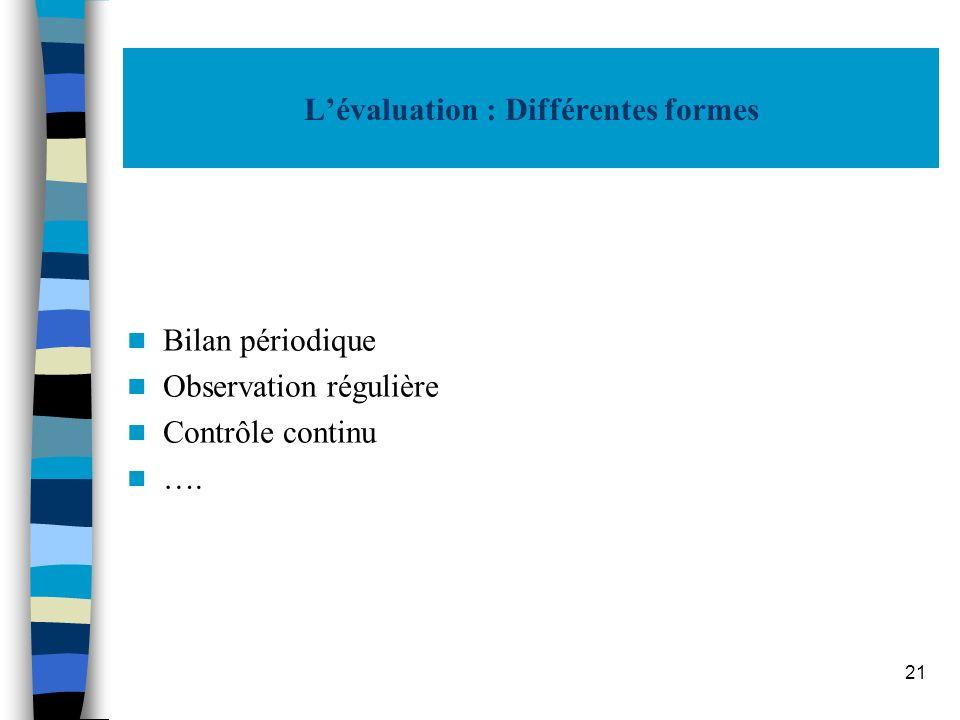 21 Lévaluation : Différentes formes Bilan périodique Observation régulière Contrôle continu ….