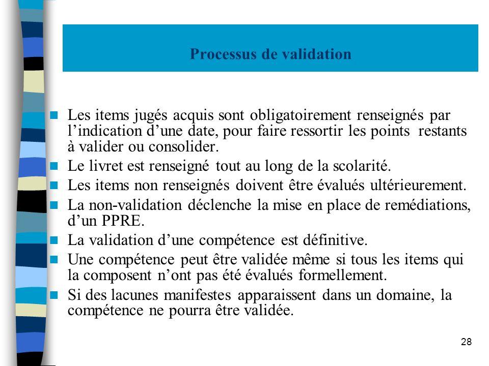 28 Processus de validation Les items jugés acquis sont obligatoirement renseignés par lindication dune date, pour faire ressortir les points restants