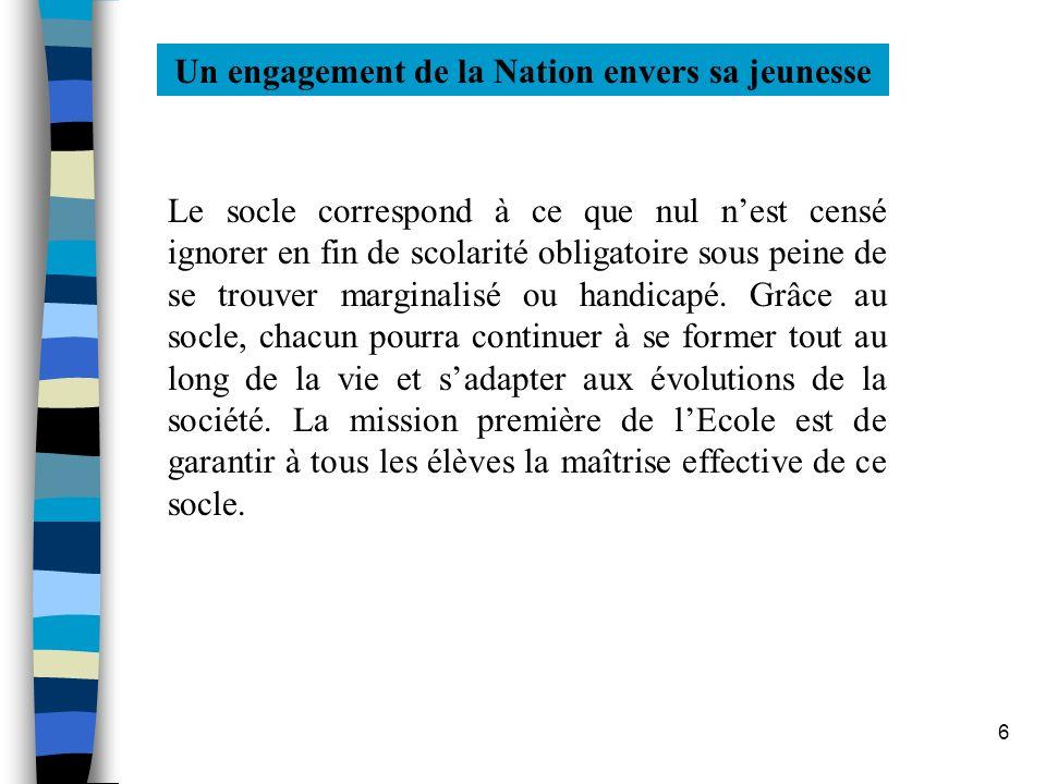 6 Un engagement de la Nation envers sa jeunesse Le socle correspond à ce que nul nest censé ignorer en fin de scolarité obligatoire sous peine de se t