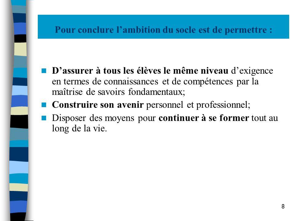 9 Le socle, en cohérence avec : Les programmes de lécole et du collège; Le livret personnel de compétences; Lacte denseigner et dévaluer.