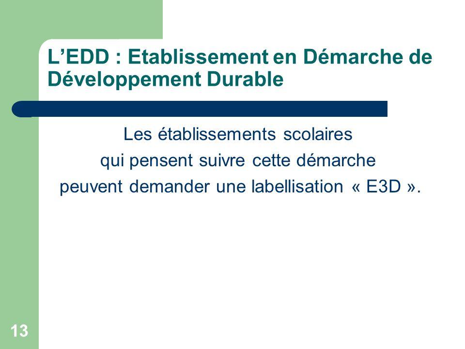 13 LEDD : Etablissement en Démarche de Développement Durable Les établissements scolaires qui pensent suivre cette démarche peuvent demander une label
