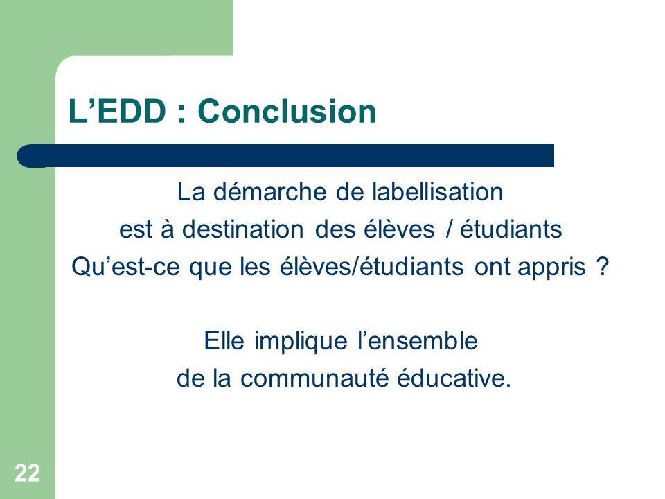 22 LEDD : Conclusion La démarche de labellisation est à destination des élèves / étudiants Quest-ce que les élèves/étudiants ont appris ? Elle impliqu
