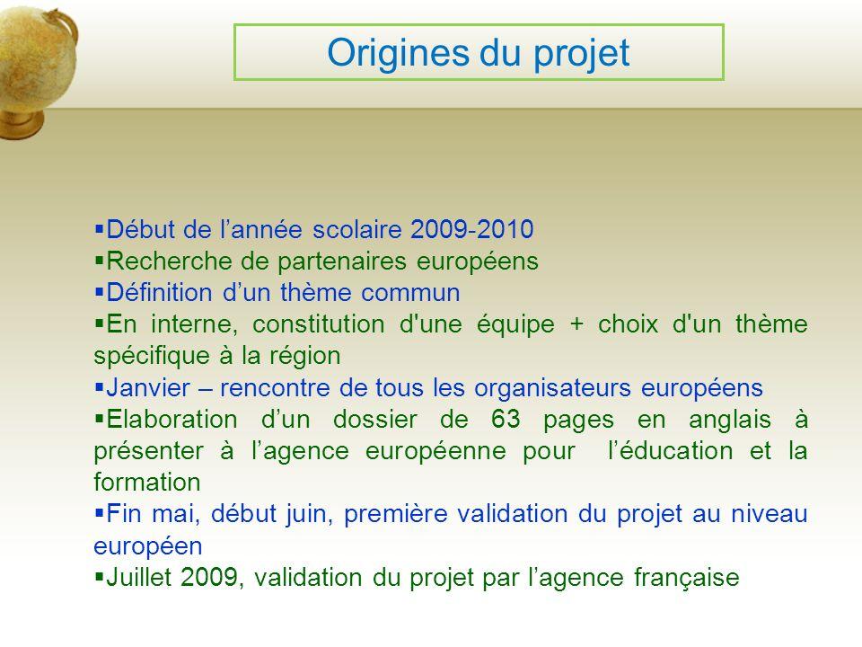 Origines du projet Début de lannée scolaire 2009-2010 Recherche de partenaires européens Définition dun thème commun En interne, constitution d'une éq