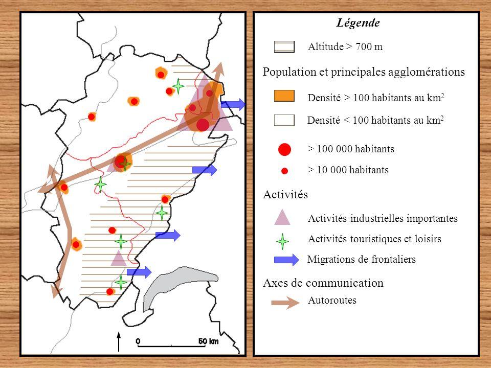 Activités Migrations de frontaliers Activités touristiques et loisirs Activités industrielles importantes > 10 000 habitants > 100 000 habitants Densi