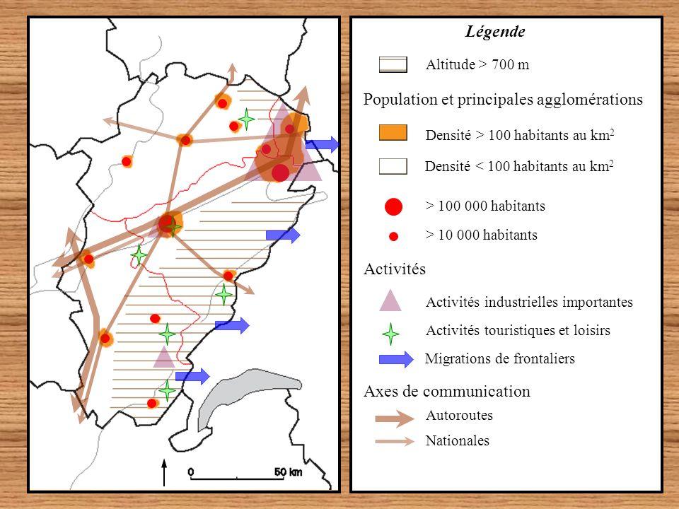 Axes de communication Autoroutes Activités Migrations de frontaliers Activités touristiques et loisirs Activités industrielles importantes > 10 000 ha