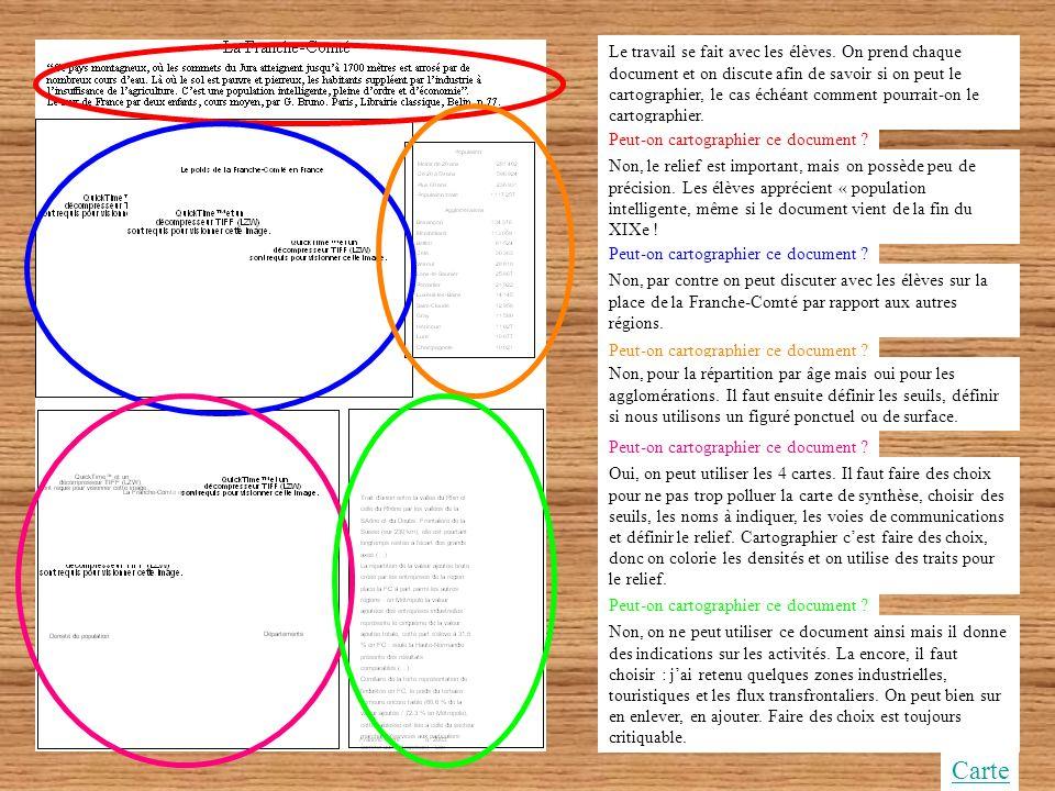 Lorganisation de lespace franc-comtois Approche didactique de la carte Présentation didactique de la séquence pour le professeur (automatique) Carte d