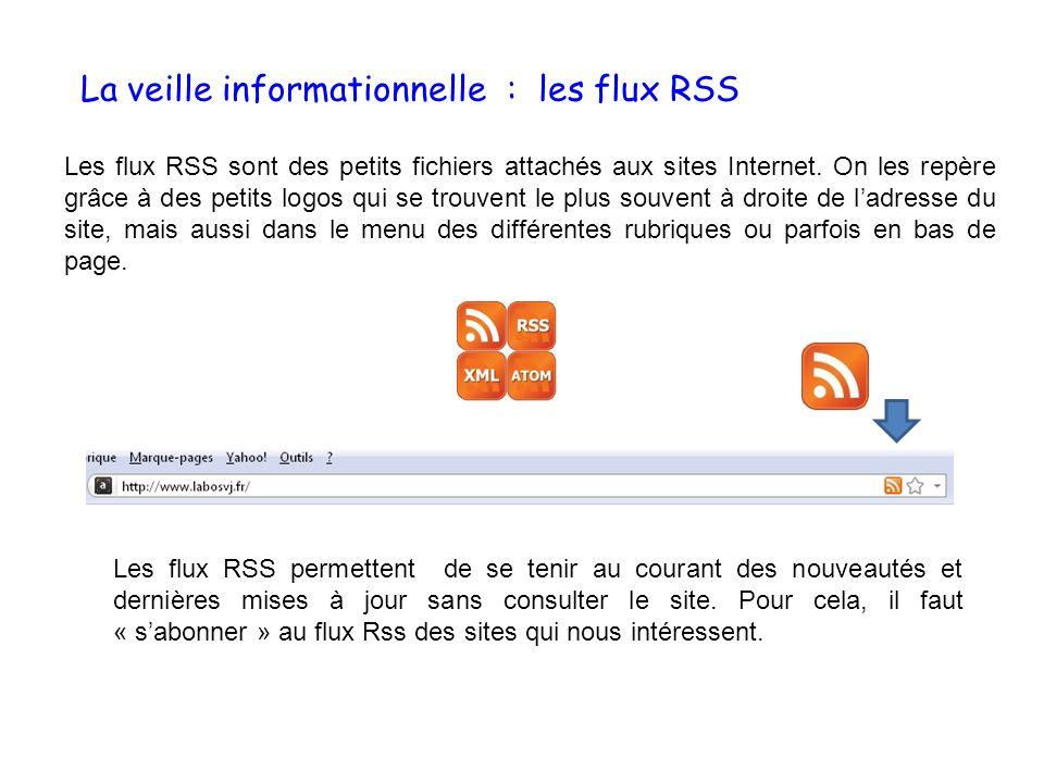 La veille informationnelle : les flux RSS Les flux RSS sont des petits fichiers attachés aux sites Internet. On les repère grâce à des petits logos qu