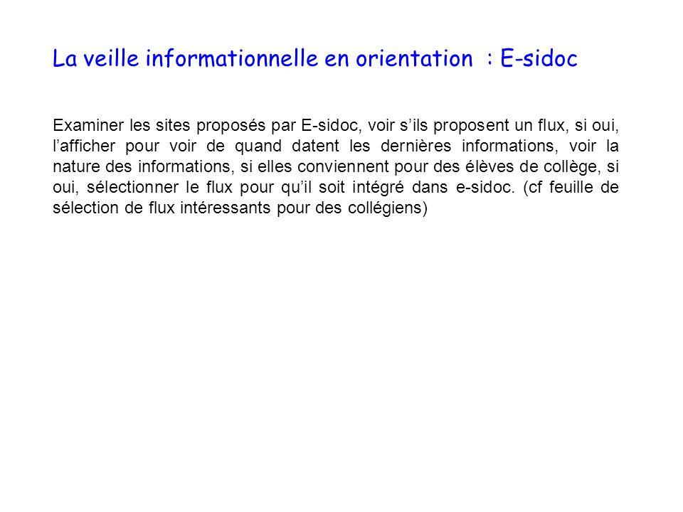 Examiner les sites proposés par E-sidoc, voir sils proposent un flux, si oui, lafficher pour voir de quand datent les dernières informations, voir la