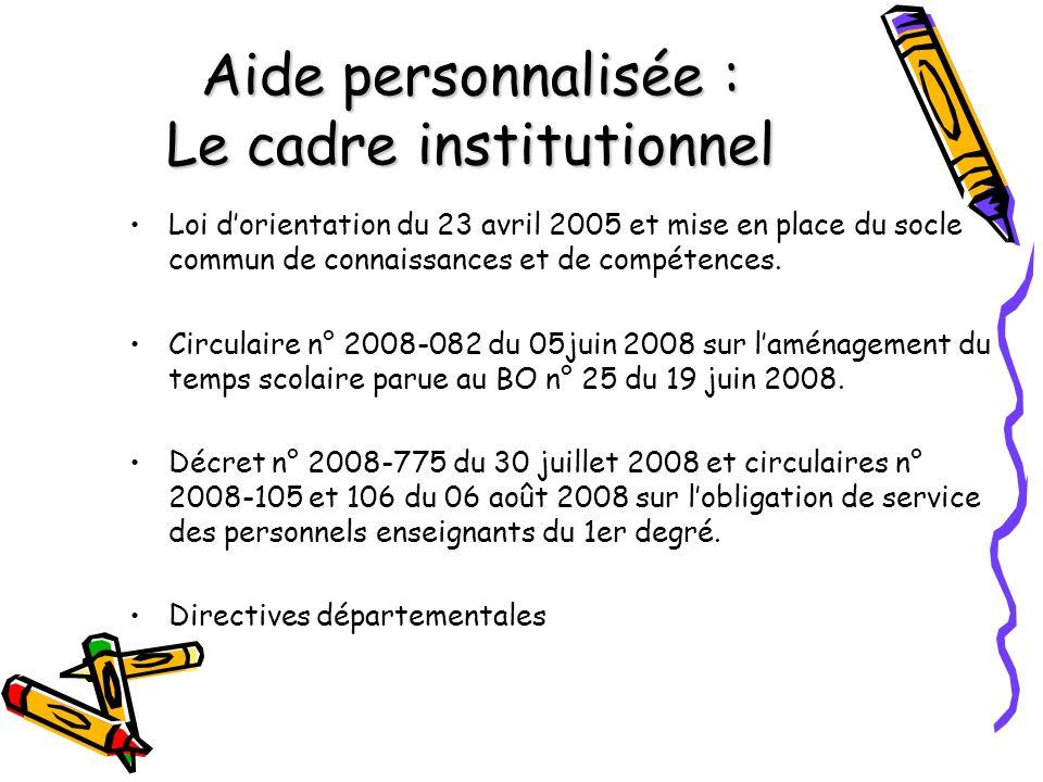 Aide personnalisée : Le cadre institutionnel Loi dorientation du 23 avril 2005 et mise en place du socle commun de connaissances et de compétences.