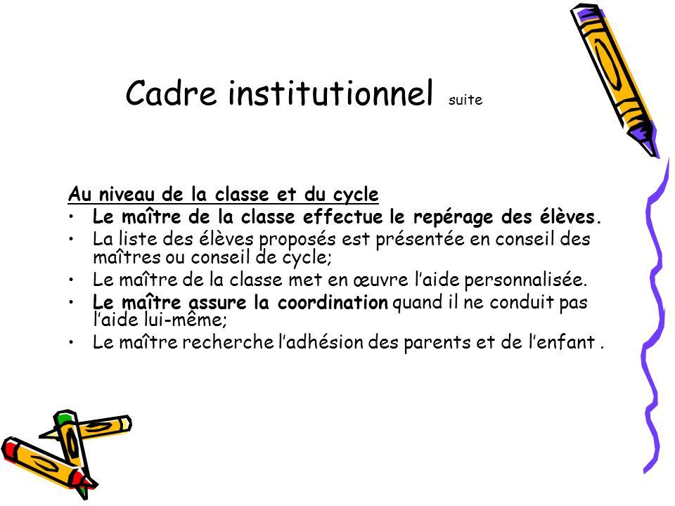 Cadre institutionnel suite Au niveau de la classe et du cycle Le maître de la classe effectue le repérage des élèves.