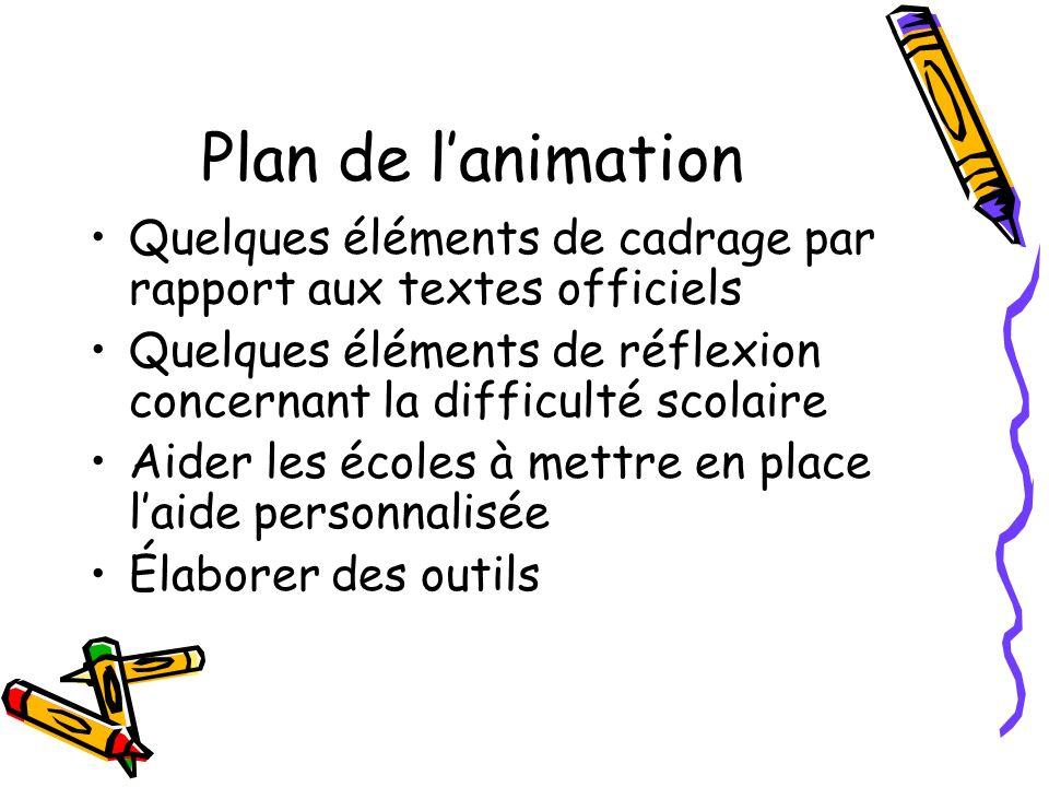Plan de lanimation Quelques éléments de cadrage par rapport aux textes officiels Quelques éléments de réflexion concernant la difficulté scolaire Aide
