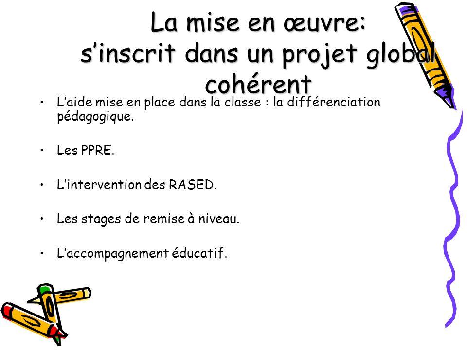 La mise en œuvre: sinscrit dans un projet global cohérent Laide mise en place dans la classe : la différenciation pédagogique. Les PPRE. Lintervention