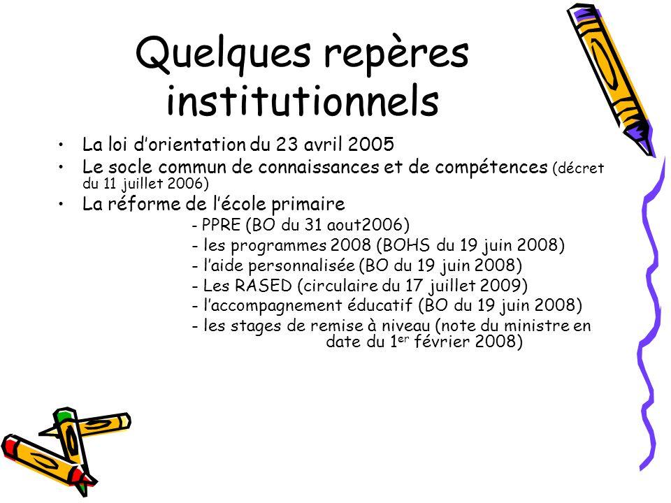 Quelques repères institutionnels La loi dorientation du 23 avril 2005 Le socle commun de connaissances et de compétences (décret du 11 juillet 2006) La réforme de lécole primaire - PPRE (BO du 31 aout2006) - les programmes 2008 (BOHS du 19 juin 2008) - laide personnalisée (BO du 19 juin 2008) - Les RASED (circulaire du 17 juillet 2009) - laccompagnement éducatif (BO du 19 juin 2008) - les stages de remise à niveau (note du ministre en date du 1 er février 2008)