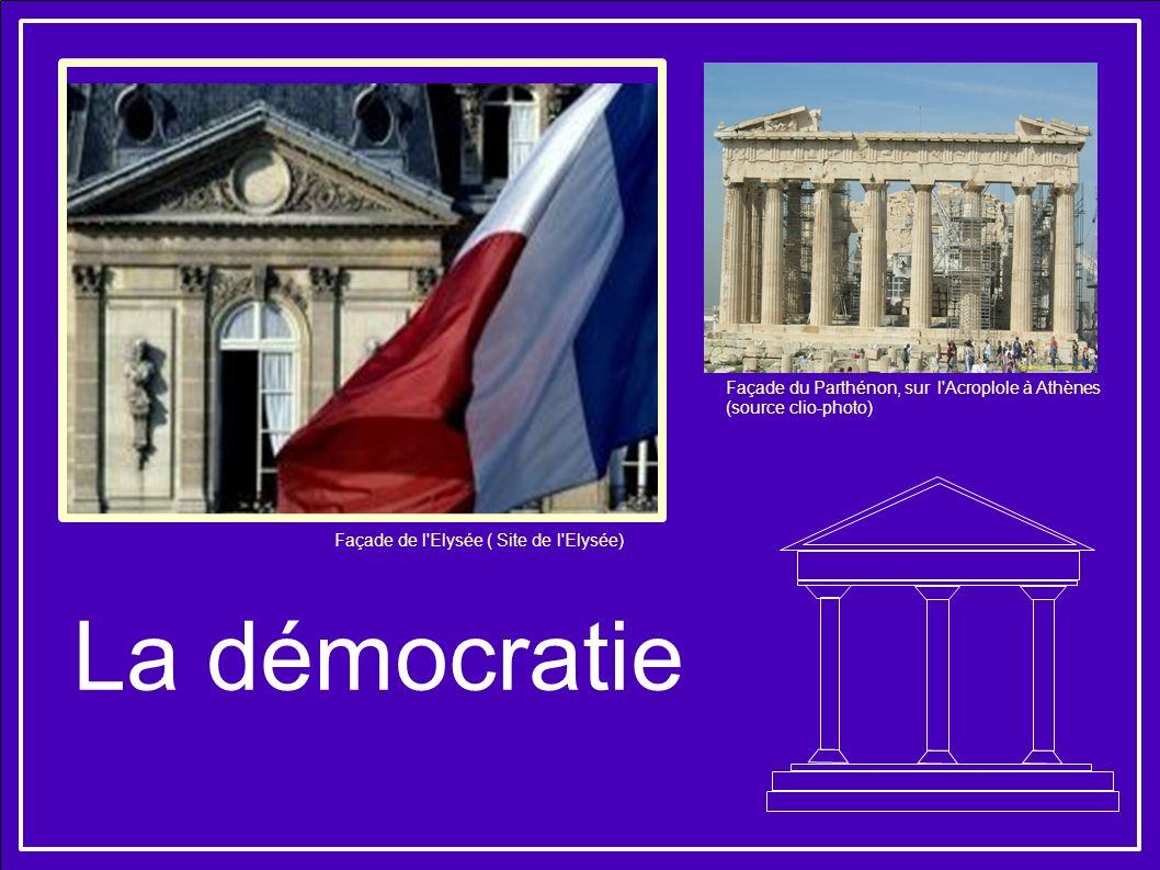 La démocratie Façade de l'Elysée ( Site de l'Elysée) Façade du Parthénon, sur l'Acroplole à Athènes (source clio-photo)