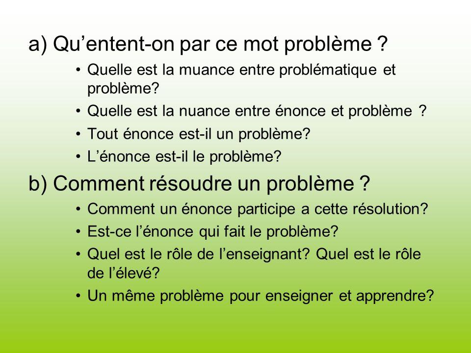 a) Quentent-on par ce mot problème ? Quelle est la muance entre problématique et problème? Quelle est la nuance entre énonce et problème ? Tout énonce