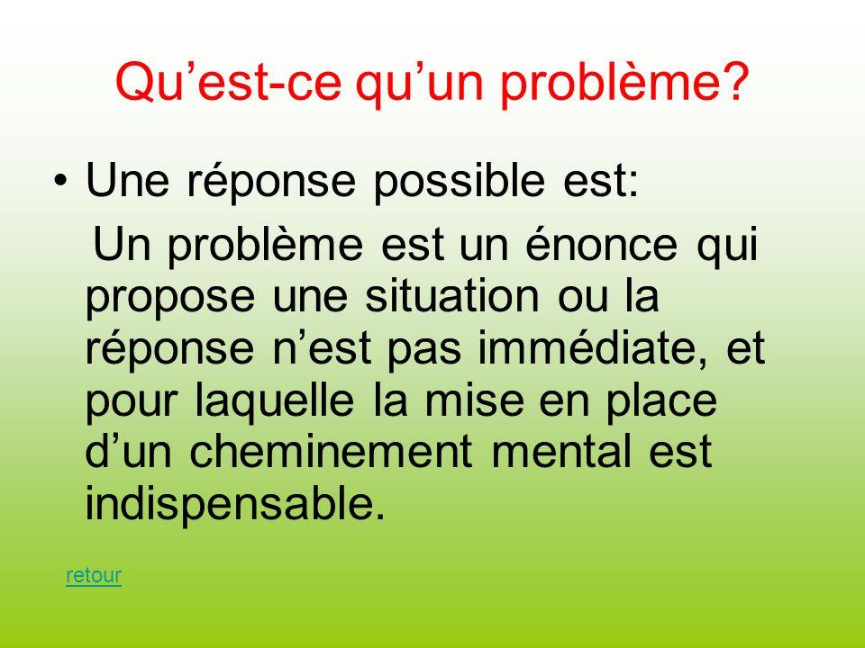 Quest-ce quun problème? Une réponse possible est: Un problème est un énonce qui propose une situation ou la réponse nest pas immédiate, et pour laquel