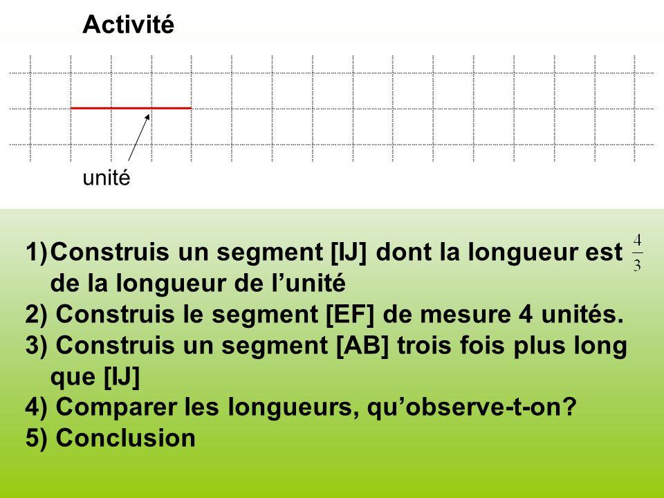 1)Construis un segment [IJ] dont la longueur est de la longueur de lunité 2) Construis le segment [EF] de mesure 4 unités. 3) Construis un segment [AB