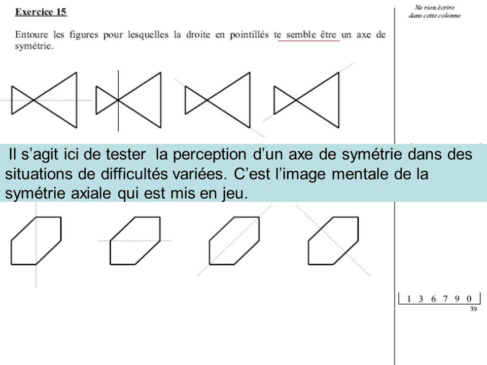 Il sagit ici de tester la perception dun axe de symétrie dans des situations de difficultés variées. Cest limage mentale de la symétrie axiale qui est