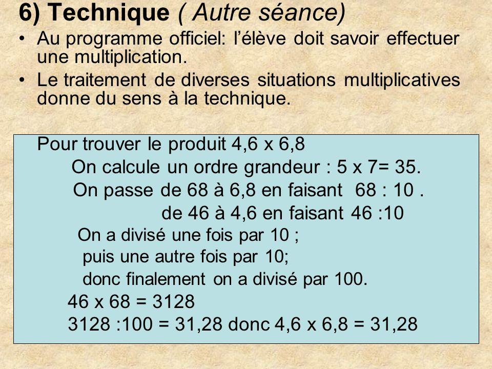 6) Technique ( Autre séance) Au programme officiel: lélève doit savoir effectuer une multiplication. Le traitement de diverses situations multiplicati