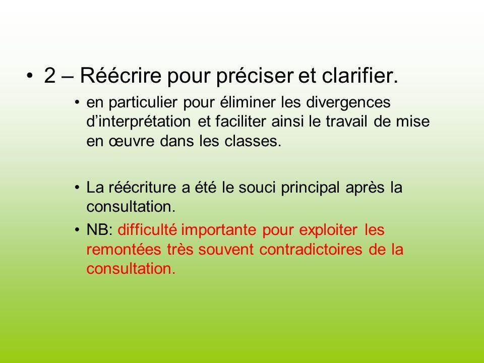 2 – Réécrire pour préciser et clarifier. en particulier pour éliminer les divergences dinterprétation et faciliter ainsi le travail de mise en œuvre d