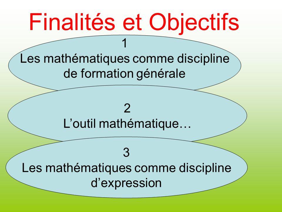 1 Les mathématiques comme discipline de formation générale 2 Loutil mathématique… 3 Les mathématiques comme discipline dexpression Finalités et Object