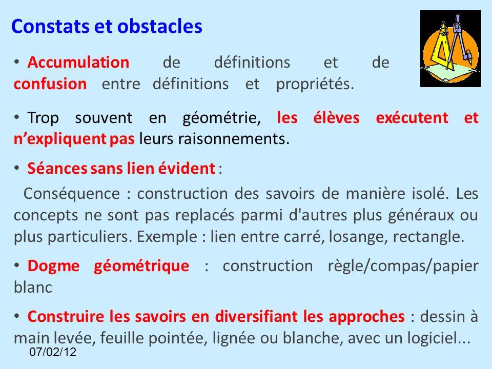 Accumulation de définitions et de lexique, confusion entre définitions et propriétés.