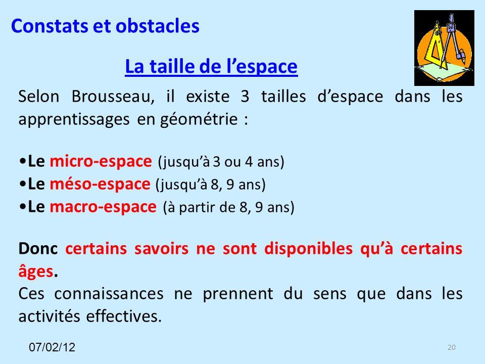 La taille de lespace 20 Selon Brousseau, il existe 3 tailles despace dans les apprentissages en géométrie : Le micro-espace (jusquà 3 ou 4 ans) Le méso-espace (jusquà 8, 9 ans) Le macro-espace (à partir de 8, 9 ans) Donc certains savoirs ne sont disponibles quà certains âges.