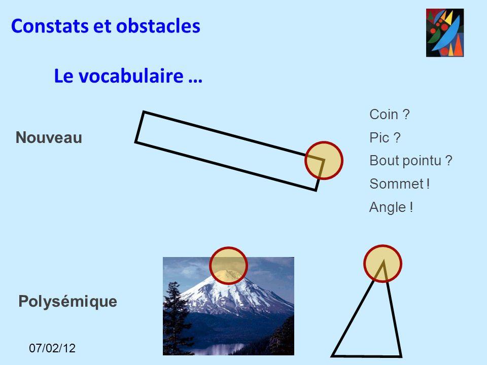 Nouveau Coin ? Pic ? Bout pointu ? Sommet ! Angle ! Polysémique Le vocabulaire … Constats et obstacles 07/02/12