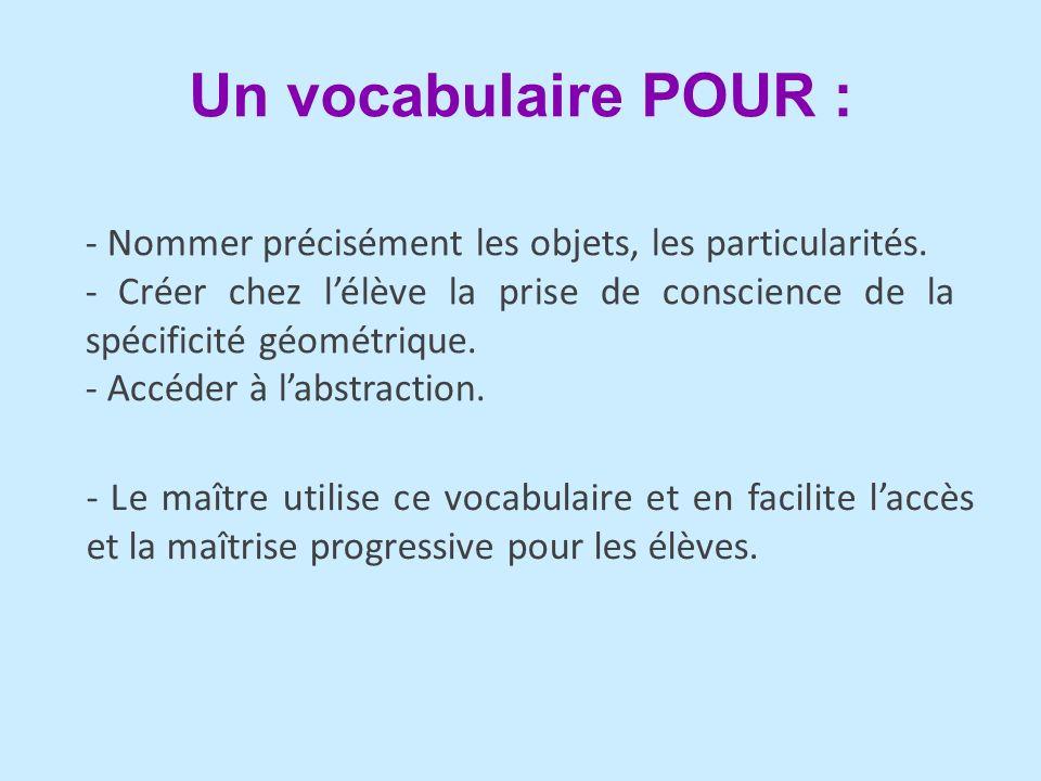 Un vocabulaire POUR : - Nommer précisément les objets, les particularités.