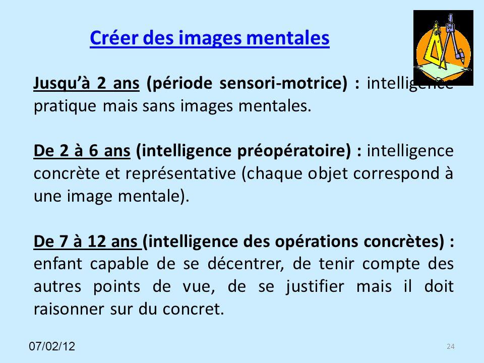 Créer des images mentales 24 Jusquà 2 ans (période sensori-motrice) : intelligence pratique mais sans images mentales.