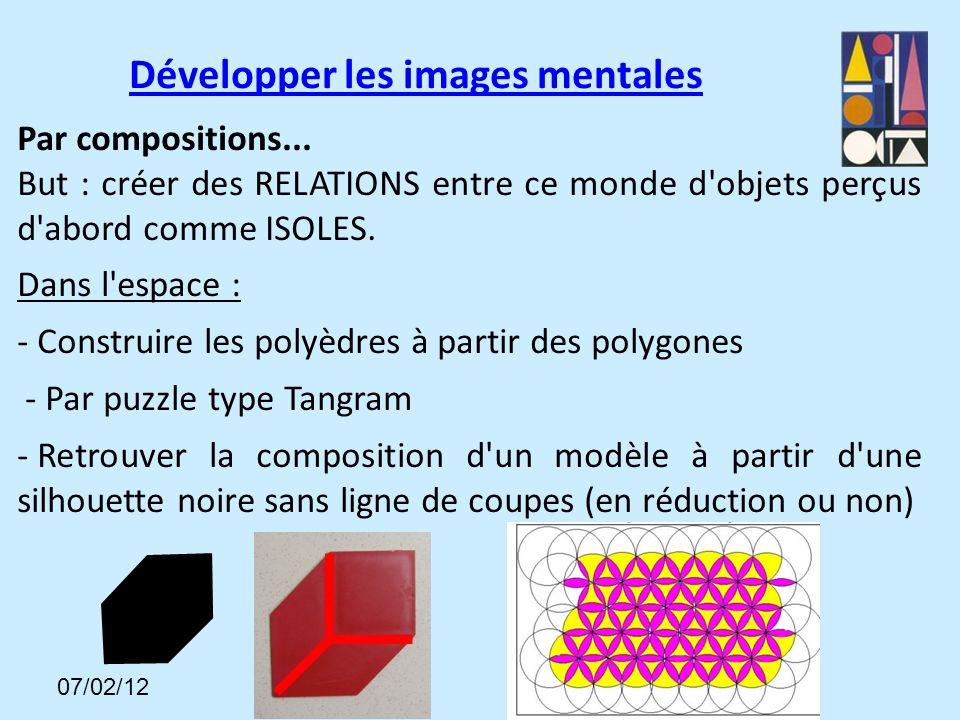 Par compositions...But : créer des RELATIONS entre ce monde d objets perçus d abord comme ISOLES.